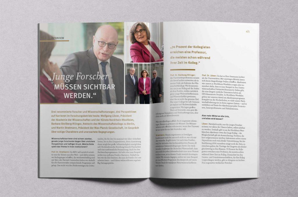 Dreier-Interview mit dem Max-Planck-Präsidenten, der Rektorin des Wissenschafts-Kollegs zu Berlin und dem Präsidenten der AWK NRW