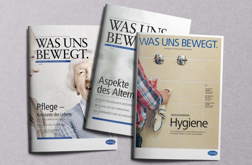 Pflege, Altern, Hygiene: Die drei Ausgaben des Hartmann-Magazins